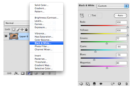 New adjustment layer - Black&White