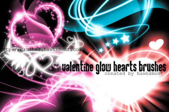 5 Free Valentine Brushes - Glow Hearts Photoshop Brushes by Hawksmont