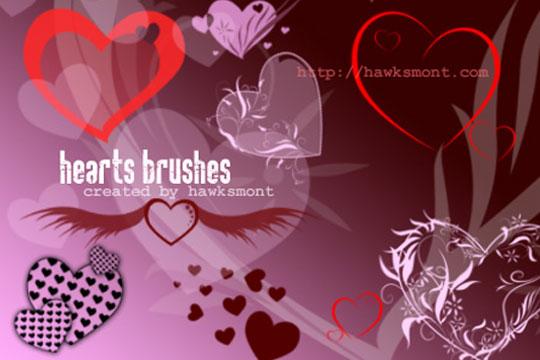 9  Valentine Brushes - Free Photoshop Hearts Brushes - by Hawksmont