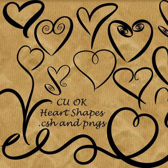 Free Valentine Doodled Heart Custom Shapes