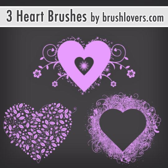 3 Valentine Heart Brushes by BrushLovers