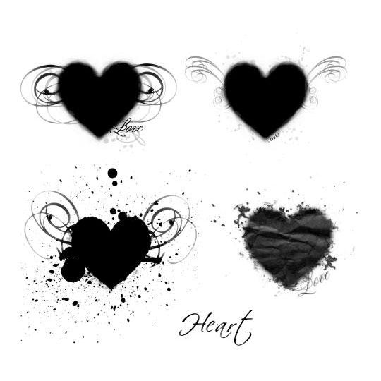 4 Free Grunge Heart Brushes