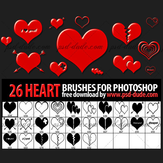 26 Free Heart Photoshop Brushes by psd-dude