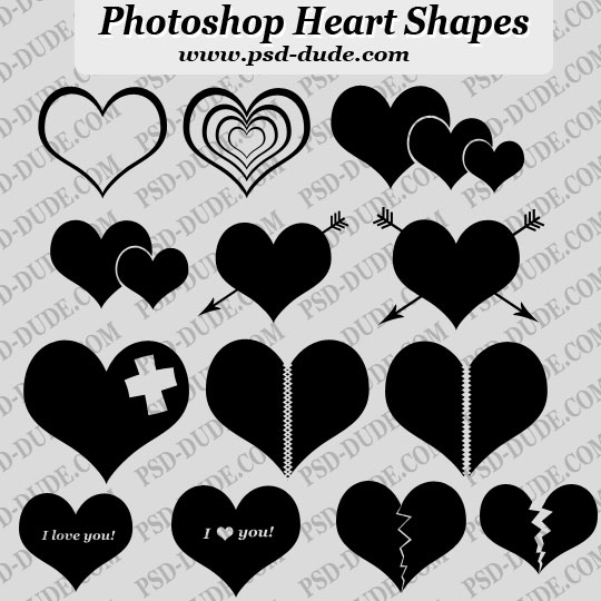 14 Photoshop Heart Custom Shapes by psd-dude